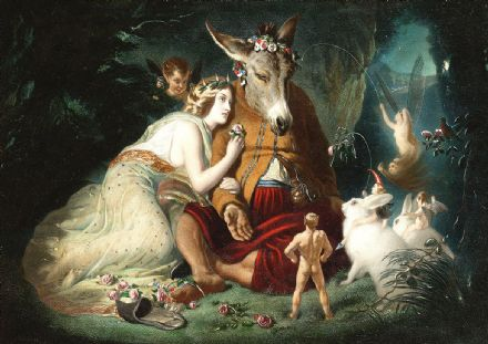 Landseer, Sir Edwin: Scene from Shakespeare's A Midsummer Night's Dream. Titania and Bottom. Fine Art Print/Poster. Sizes: A4/A3/A2/A1 (00117)